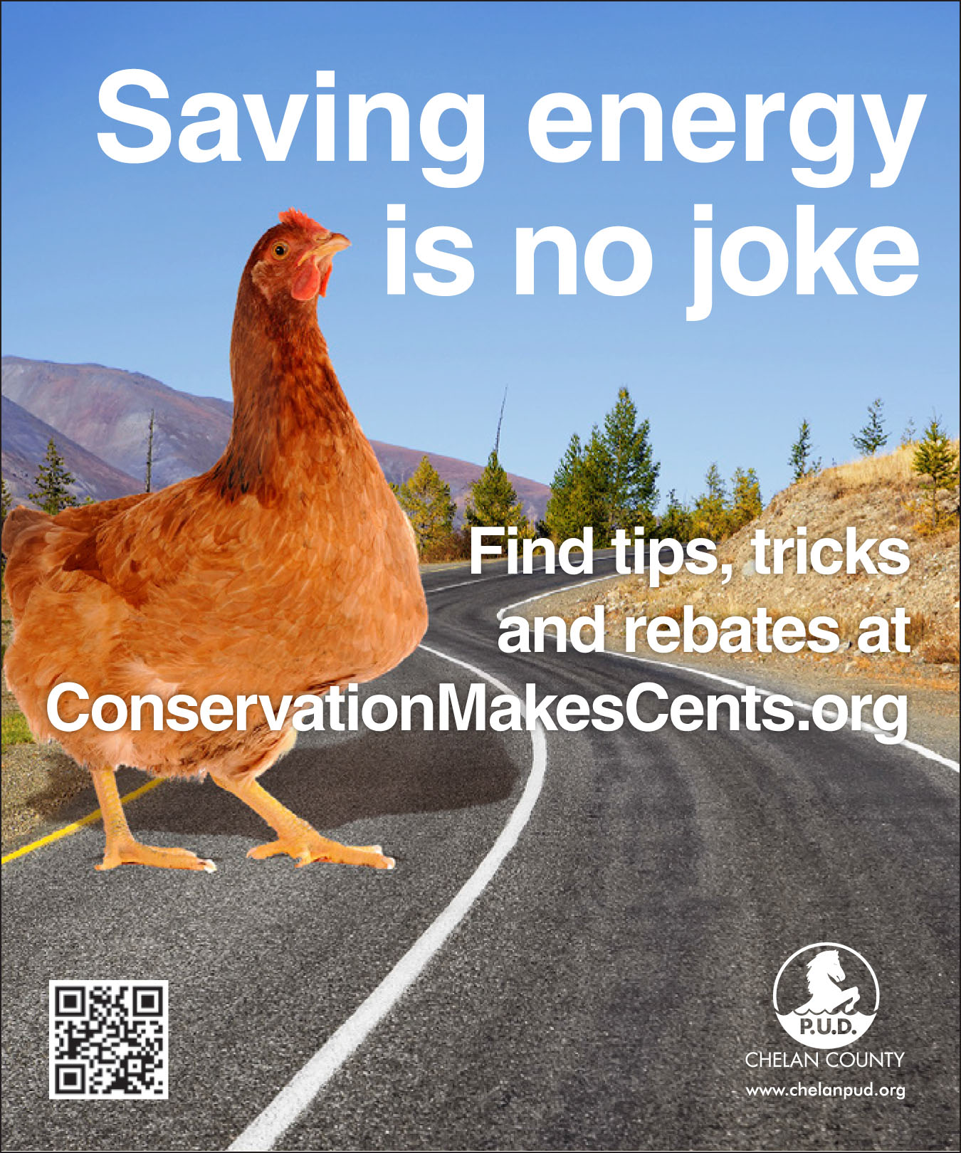 Photo of ad featuring a chicken crossing the road.