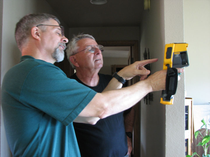 Photo of home energy audit - Greg Jourdan and John Eder