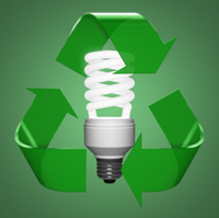 CFL bulb with green arrow recycling symbol