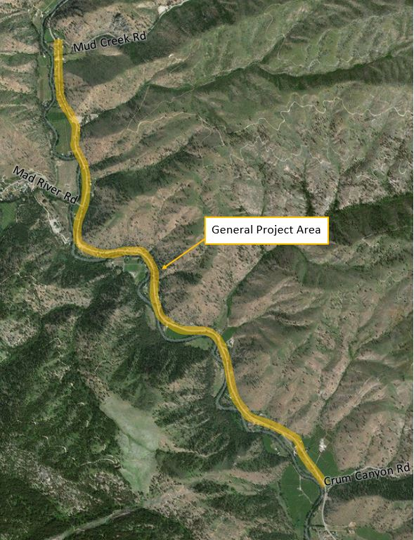 Map of electrical upgrade project on Entiat River Rd