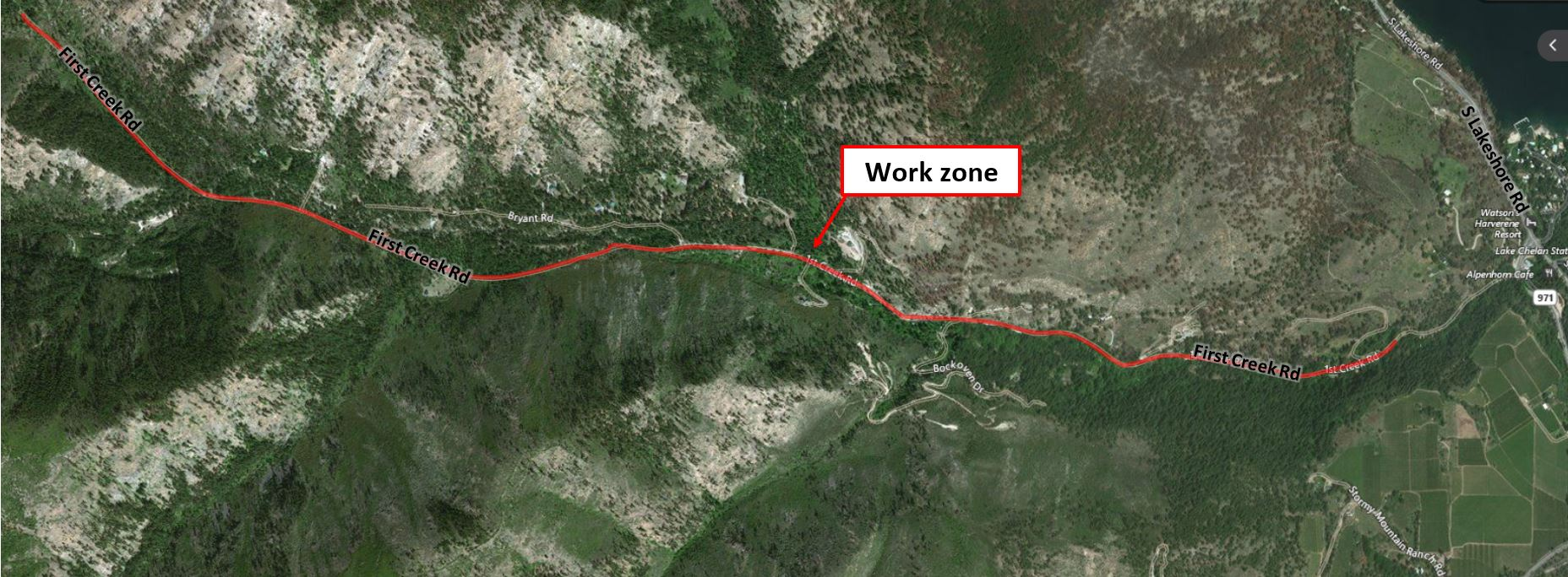 Map of First Creek Cable Replacement Work Zone