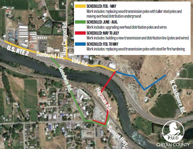 Map of work areas for Goodwin Bridge project