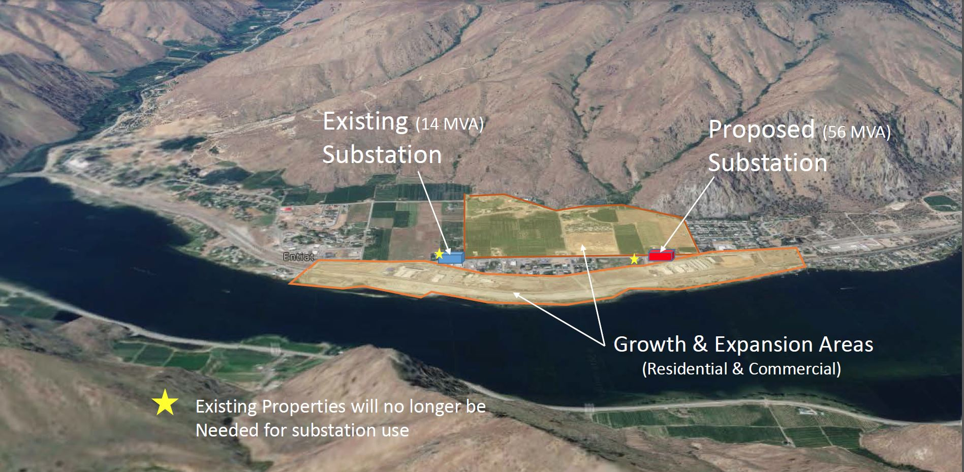 A map of anticipated growth areas, existing substations and the new Entiat North Substation site