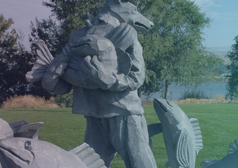 Photo of Coyote and Salmon sculpture in Walla Walla Point Park