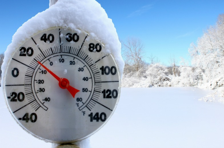 graphic of thermometer in the snow