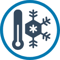 cooling icon with snowflake and thermometer