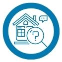 icon of house with magnifying glass and speech bubble