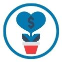 icon of plant growing with savings dollar sign
