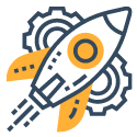 rocket and gear icon