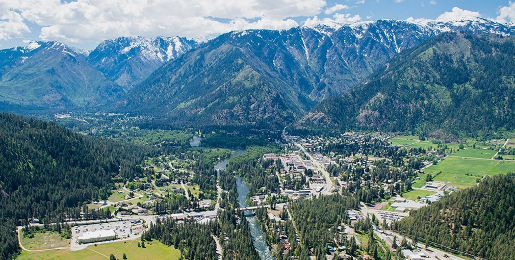 Aerial image of Leavenworth