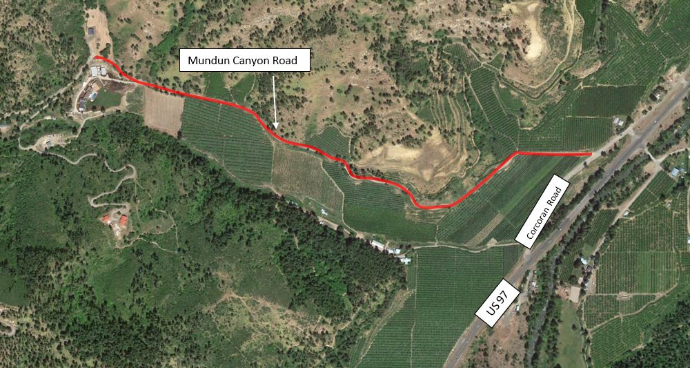 Map of underground cable replacement on Mundun Canyon Rd