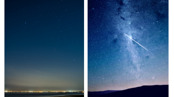 comparison of night sky with city lights and sky without artificial lighting nearby