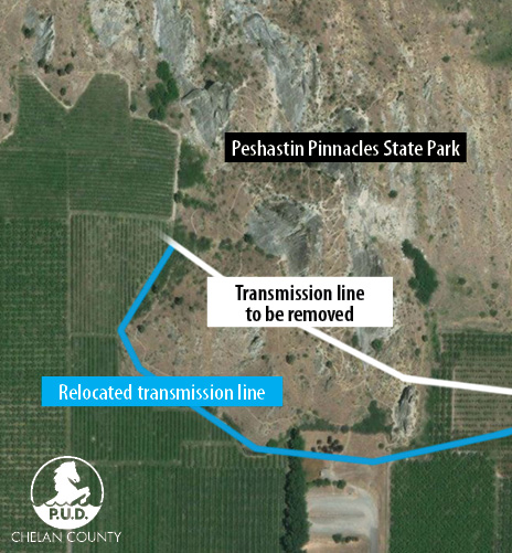 Map of transmission line relocation at Peshastin Pinnacles State Park.