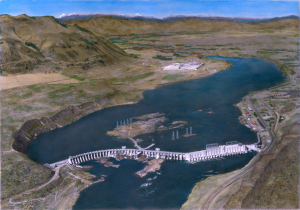 A 1953 view of Rock Island Dam and Alcoa Wenatchee Works