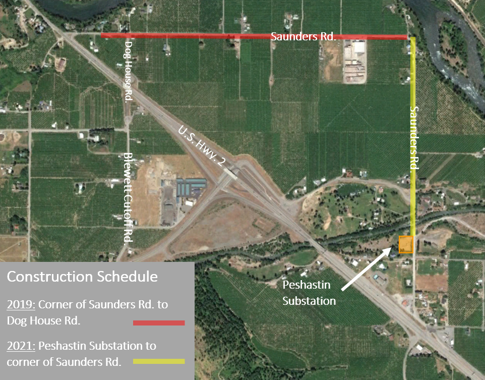 Map of electrical upgrades work on Saunders Rd