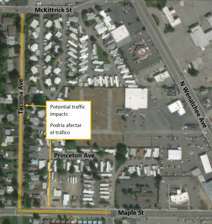 Map of water main work zones on Tacoma Ave, Wenatchee