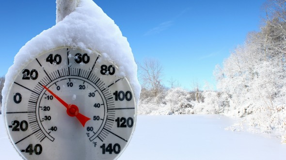 Graphic of thermometer showing cold temperature