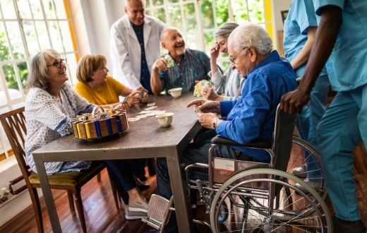 Assisted living home residents playing game