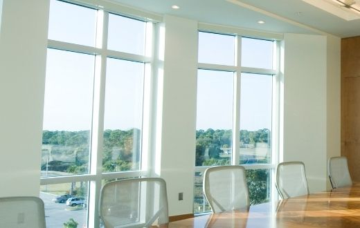Large new windows in office conference room